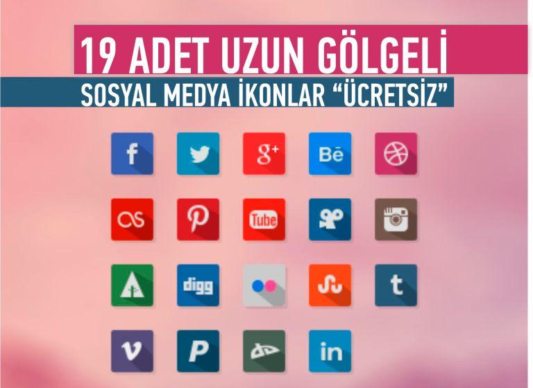 19 Adet Uzun Gölge Sosyal Medya İkonlar ( #ucretsizindir  ) | 19 Free Long Shadow Social Media Icons ( #freedownload  ) - http://goo.gl/ZMp8Jt